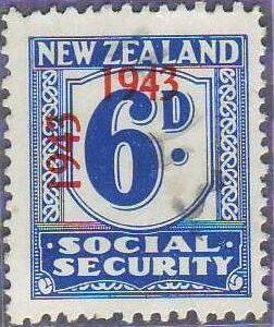 1943 Social Security 6d Blue