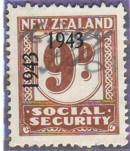 1943 Social Security 9d Pale Brown