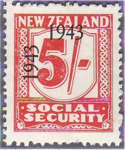 1943 Social Security 5/- Carmine