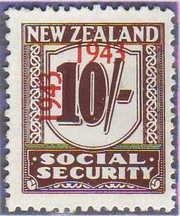 1943 Social Security 10/- Red-Brown