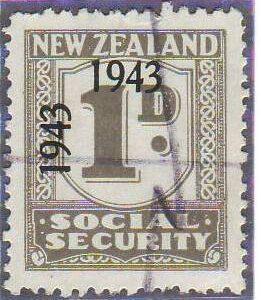 1943 Social Security 1d Grey