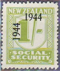 1944 - 1946 Social Security 1/- Yellow-Green