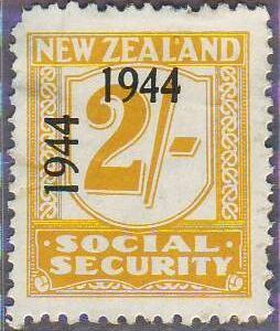 1944 - 1946 Social Security 2/- Yellow