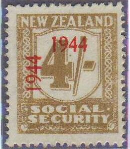 1944 - 1946 Social Security 4/- Yellow-Olive