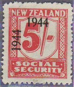 1944 - 1946 Social Security 5/- Carmine