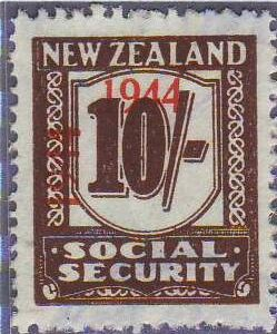 1944 - 1946 Social Security 10/- Red-Brown