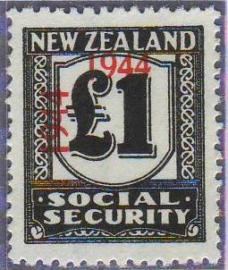 1944 - 1946 Social Security 1 Pound Black