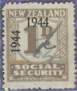 1944 - 1946 Social Security 1d Grey