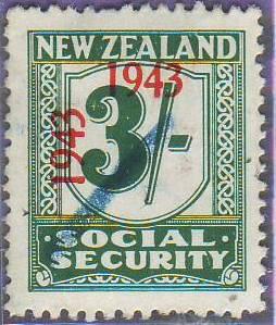 1943 Social Security 3/- Blue-Green