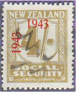 1943 Social Security 4/- Yellow-Olive