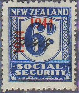 1944 - 1946 Social Security 6d Blue
