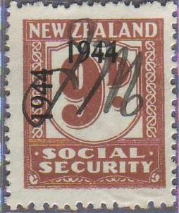 1944 - 1946 Social Security 9d Pale Brown