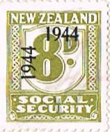 1944 - 1946 Social Security 8d Olive-Green