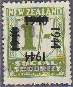 1944 on 1940 Provisionals 1/- Yellow-Green
