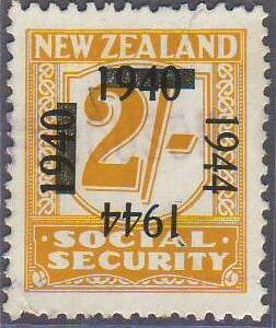 1944 on 1940 Provisionals 2/- Yellow