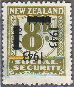 1943 on 1940 Provisionals 8d Olive-Green