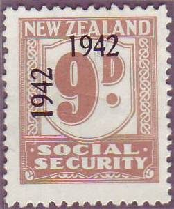 1942 Social Security 9d Pale Brown