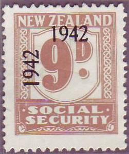1942 Social Security 9d Pale Brown