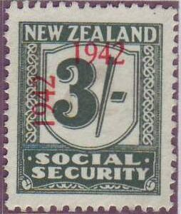 1942 Social Security 3/- Blue-Green