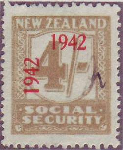 1942 Social Security 4/- Yellow-Olive