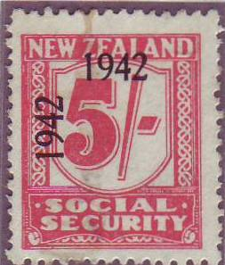 1942 Social Security 5/- Carmine