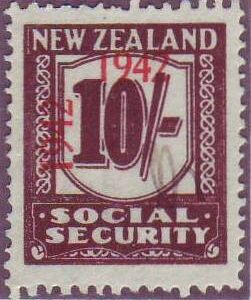 1942 Social Security 10/- Red-Brown