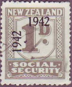 1942 Social Security 1d Grey & Black