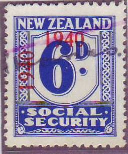 1940 - 41 Social Security 6d Blue