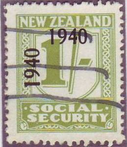 1940 - 41 Social Security 1/- Yellow-Green