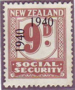 1940 - 41 Social Security 9d Pale Brown