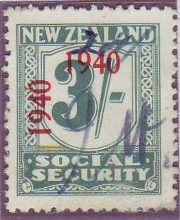 1940 - 41 Social Security 3/- Blue-Green