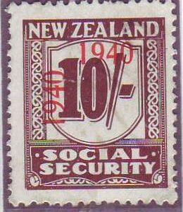 1940 - 41 Social Security 10/- Deep Red-Brown