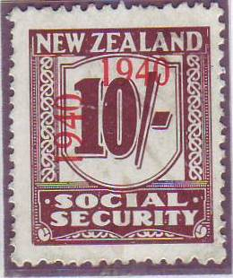 1940 - 41 Social Security 10/- Deep Red-Brown