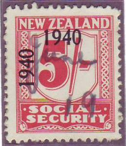 1940 - 41 Social Security 5/- Carmine