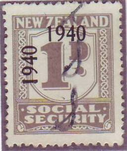 1940 - 41 Social Security 1d Grey