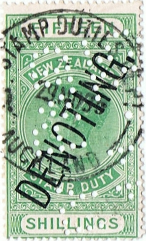 Denoting 15/- Green QV Longtype