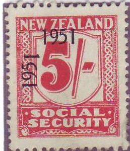 "1951 Social Security ""Inverted 1"" 5/- Carmine"