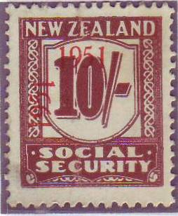 "1951 Social Security ""Inverted 1"" 10/- Red-Brown"
