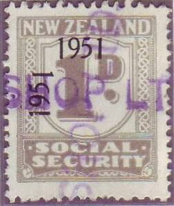 "1951 Social Security ""Inverted 1"" 1d Grey"