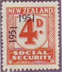 """1951 Social Security """"Inverted 1"""" 4d Orange"""