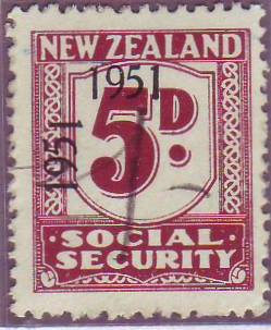 "1951 Social Security ""Inverted 1"" 5d Plum"