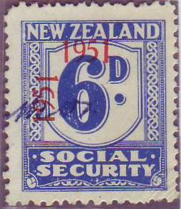 "1951 Social Security ""Inverted 1"" 6d Blue"