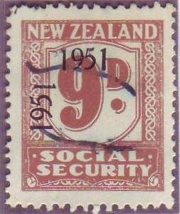 "1951 Social Security ""Inverted 1"" 9d Pale Brown"