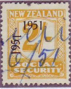 "1951 Social Security ""Inverted 1"" 2/- Yellow"
