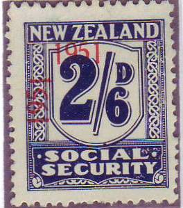 "1951 Social Security ""Inverted 1"" 2/6 Indigo"