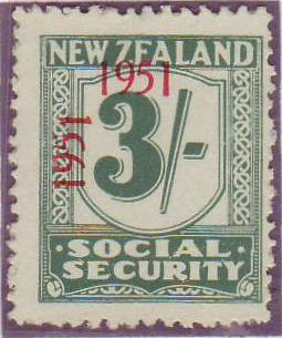 "1951 Social Security ""Inverted 1"" 3/- Blue-Green"