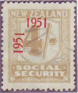 "1951 Social Security ""Inverted 1"" 4/- Yellow-Olive"