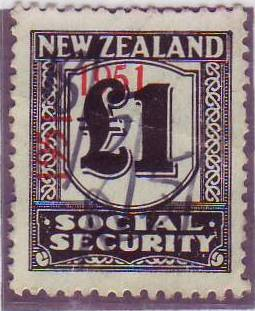 "1951 Social Security ""Inverted 1"" 1 Pound Black"