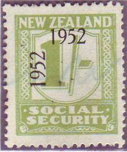 1947 - 58 Social Security 1/- Yellow-Green