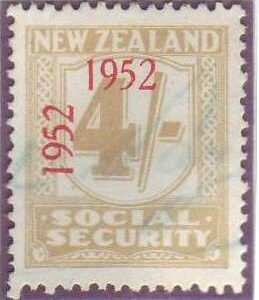 1947 - 58 Social Security 4/- Yellow-Olive